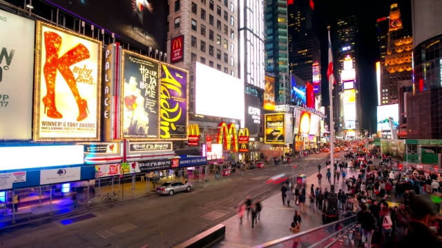 HD time-lapse: Times Square New York City Raining at night video