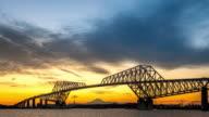 4K Time-lapse: Tokyo Gate Bridge Japan Sunset video