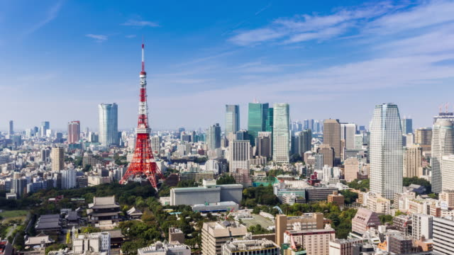 Timelapse tokyo tower at clear sky day video