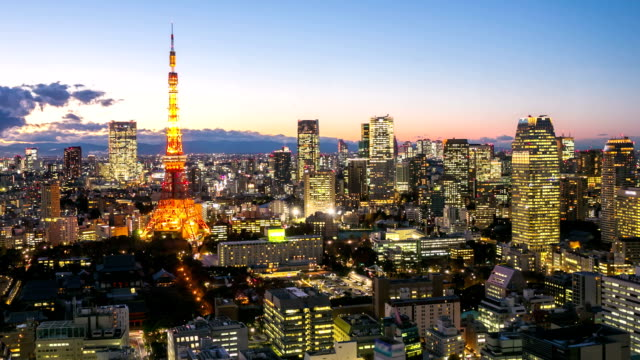 HD Time-lapse: Tokyo tower at dusk video