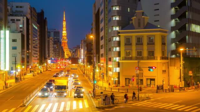 4K Time-lapse: Tokyo tower Japan at dusk video