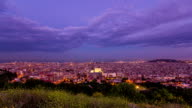 Timelapse top view of City of Barcelona day to night  transition video