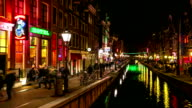 HD Time-lapse: Tourist crowed Amsterdam Red Light District night, Netherland video