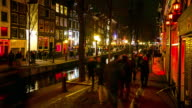 4K Time-lapse: Tourist crowed Amsterdam Red Light District night, Netherland video