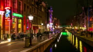Time-lapse: Tourist crowed Amsterdam Red Light District night, Netherland video