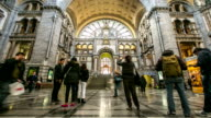 HD time-lapse: Tourist pedestrian travelling at Antwerp Central Station Belgium video