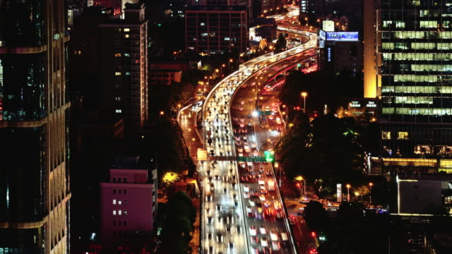 Time-lapse: Traffic and city at night, Shanghai video