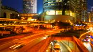 Timelapse - Traffic car in hong kong city at night video