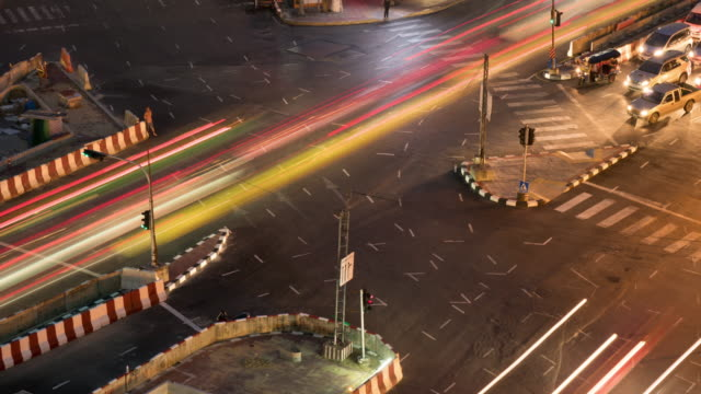 4K Timelapse: Traffic crossroads at night. video