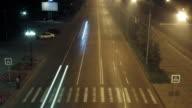 timelapse traffic light streaks at night video