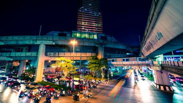 4K TimeLapse. Traffic on streets at night in centre Bangkok, Thailand. January, 2016. video
