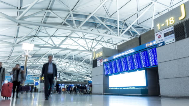 Time-lapse: Traveler at Airport Departure information board video