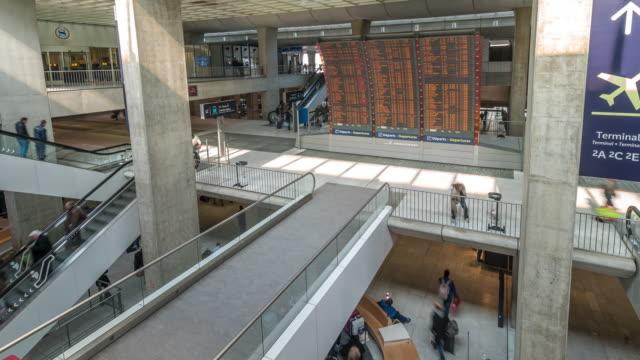time-lapse: Traveler at CDG Airport train station Paris France video