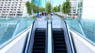 HD Time-lapse: Traveler at Escalator Pedestrian Bridge video