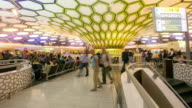4K Time-lapse: Traveler Crowd abu dhabi Airport Departure waiting Hall video