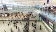 HD Time-lapse: Traveler Crowd at Airport Arrival Hall Hong Kong video