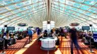 HD Timelapse: Traveler Crowd at Paris Airport waiting hall video