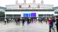 HD Time-lapse: Traveler Crowd at waiting hall Chongqing Train Station video