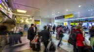 4K Time-lapse: Traveller crowded at Hiroshima railway station video