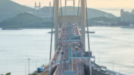 4K Time-lapse Tsing Ma Bridge traffic at sunset. video