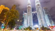 4K Timelapse: Twin towers in Kuala lumpur city. video