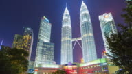 Timelapse: Twin towers in Kuala lumpur city. video
