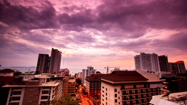 Timelapse video of Pattaya from day to night video