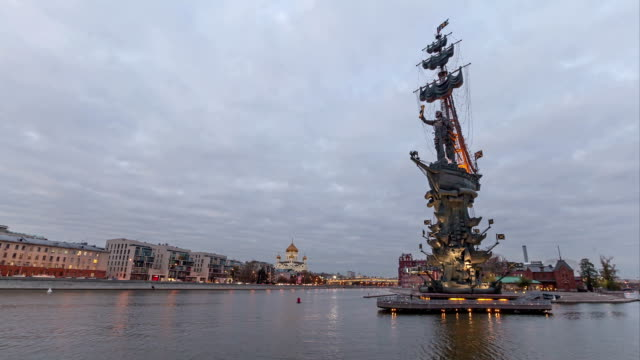 Time-lapse video of Peter the Great monument in the evening video