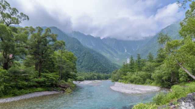 4K Timelapse : View from Kappa-bashi bridge with Azusa river and Hotaka mountain video