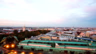 Timelapse view of downtown Saint Petersburg from roof of Saint Isaac cathedral day to night sunset video