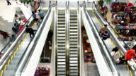 Timelapse view of escalators in a shopping mall video