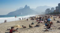 Timelapse View of Famous Ipanema Beach in Rio de Janeiro, Brazil video