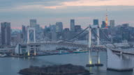 Time-lapse View of Rainbow Bridge, and Tokyo Tower video