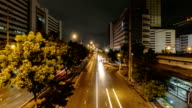 Timelapse view of Ratchada Road at night in Bangkok, Thailand video