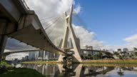 Timelapse View of the Octavio Frias de Oliveira Bridge, or Ponte Estaiada, in Sao Paulo, Brazil video