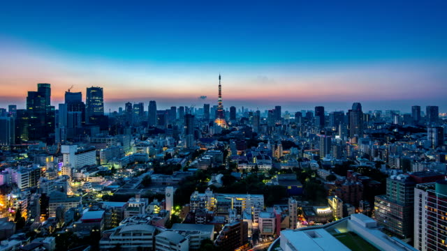 Timelapse view of Tokyo city at sunset video
