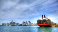 Timelapse view of Toronto harbor with freighter, Canada video