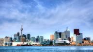 Timelapse view of Toronto skyline across the water, Canada video