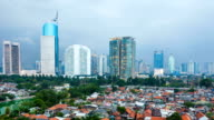 Timelapse view over Jakarta city at dusk video
