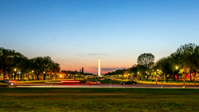 HD Time-lapse: Washington Monument at dusk DC USA video