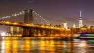 HD Timelapse: williamsburg bridge at night, brooklyn New York City video