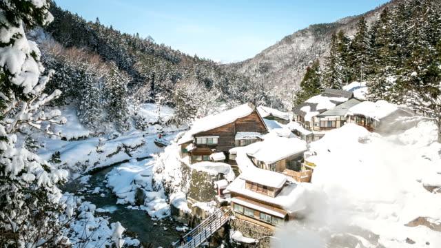 HD Time-lapse: Winter landscape of Japan Alps Nagano video