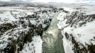 HD time-lapse: Winter landscape, river and cliff at northern Iceland video