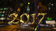 Timelapse with gold glitter countdown 2017 New Year New York video