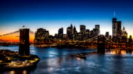 Timelapse with the Brooklyn Bridge and New York Financial District video