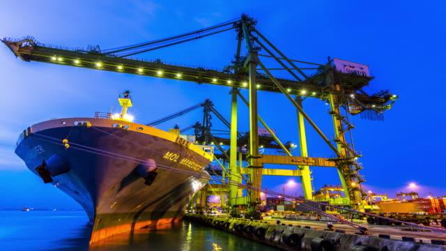 4K time-lapse: Working at Singapore Shipyard Port Terminal morning twilight video