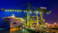 4K time-lapse: Working at Singapore Shipyard Port Terminal morning twilight video