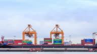 4K time-lapse : Working crane at Shipyard port terminal in bangkok , Thailand. video