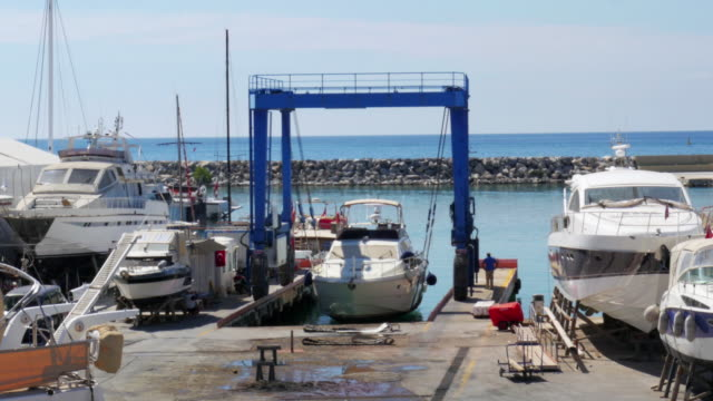 Timelapse, Yatch dock boat repair marina, Kusadasi, Turkey video