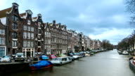 HD Time-lapse zoom: Amsterdam Canal in West Side Netherlands video
